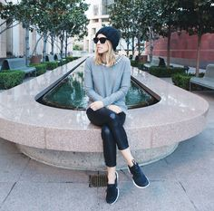 Gap sweater and beanie, Elin Kling X Marciano pants