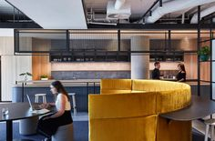 Bates Smart was engaged by financial service provider Latitude to design their new Melbourne headquarters. Office Reception Design, Work Cafe, Common Room, Workplace Design, Cool Office, Office Lighting, Commercial Interiors, Storage Shelves, Shelving