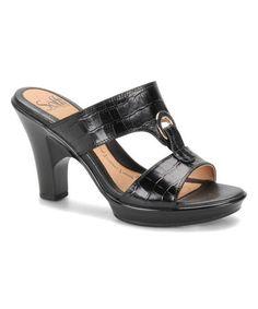 Another great find on #zulily! Black Crocodile Patrice Leather Sandal by Söfft #zulilyfinds