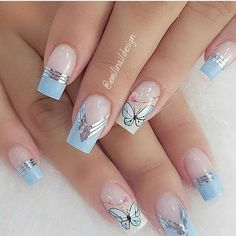 10 Amazing Spring Nail Art Designs That You Should Try Asap Manicure Nail Designs, French Manicure Nails, Glam Nails, Nail Art Designs, Manicure Pedicure, Spring Nail Art, Spring Nails, Cute Acrylic Nails, Cute Nails