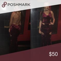 Velvet cut out gown Burgundy velvet cut out gown, in perfect condition worn once for a few hours cleaned size small Dresses
