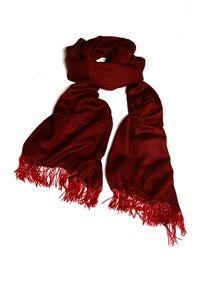 Semi Pashmina,The Carpet Cellar,Silk Pashmina Beaded Tassle Stole - Wine Red
