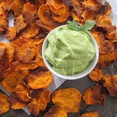Homemade Sweet Potato Chips with Creamy Avocado Lime Dip - looks yummy Yummy Snacks, Healthy Snacks, Yummy Food, Healthy Eats, Tasty, Healthy Recipes, Homemade Sweet Potato Chips, Real Food Recipes, Cooking Recipes