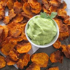 Homemade Sweet Potato Chips with Creamy Avocado Lime Dip