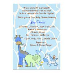 Safari Boy Jungle Animal Baby Shower Invitations