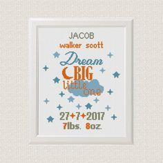 baby cross stitch pattern Birth announcement Dream big little