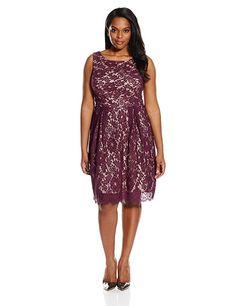 Plus Size Sleeveless Wedding Guest Dress - Single Dress Women's Plus Size Sleeveless Lace Dress, Berry/Nude, 2X (sponsored)