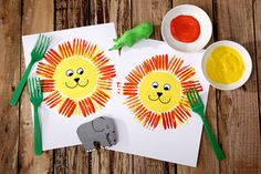 Jungle party lion painting with a fork handicrafts with children childrens birthday Diy For Teens, Crafts For Teens, Diy For Kids, Kids Crafts, Jungle Crafts Kids, Fork Crafts, Diy Crafts To Do, Arts And Crafts, Animal Crafts For Kids