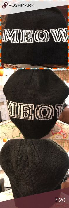 BNWOT Black Beanie with MEOW in white letters BNWOT black beanie with white lettering that spells MEOW.  One size fits most.  No trades.  Will price drop. Accessories Hats