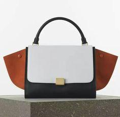 Celine Medium Trapeze Handbag in Smooth Calfskin Color: Burnt Orange Multicolour Size: 12′ x 9′ x 6′ inches