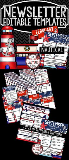 Newsletter Template Nautical Theme- is EDITABLE and perfect for weekly/monthly class newsletter communication. It is a fantastic tool to use to communicate with school, parents, and families. This fabulous Nautical Newsletter Templates are updated with 2 sets to choose from!