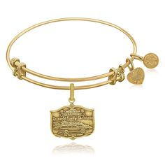 Expandable Bangle in Yellow Tone Brass with Griswold Family Christmas Symbol
