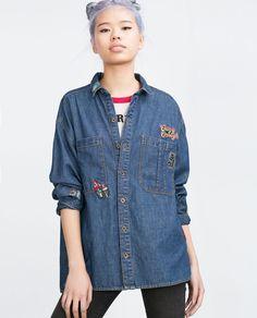 OVERSIZED PATCH SHIRT from Zara