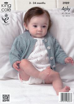 Cardigans and Romper Suits in King Cole Bamboo Cotton 4 Ply (3989) | Deramores