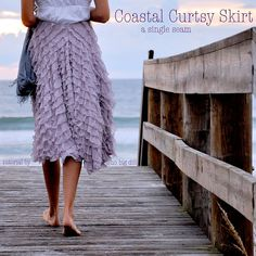 Cute Coastal Curtsy skirt made with ruffle fabric, (Joanne's) w/ no pattern, only measurement tutorial. Guess you must be skinny to wear it. Sigh!