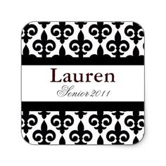 Fleur-de-lis Graduation Personalized Square Sticker/baby shower