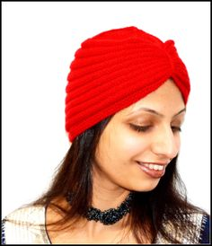 Red Beautiful Knitted Turban hat by Beautifulcrochet on Etsy, $45.00