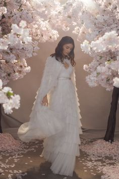 Discover our new bridal collection, 'Fallen For You', featuring tiered ruffle wedding gowns, embellished wedding dresses and soft ombre ballerina length skirts. Bridal Gowns, Wedding Gowns, Tulle Wedding, Tulle Hair Bows, Needle And Thread Dresses, Wedding Cape, Bridal Cape, Traditional Gowns, Embellished Dress