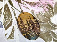 Long Necklace REVERSIBLE with Lark / Pint Tree Print on Antique Raw Brass - SALE - see Listing for Coupon Codes...