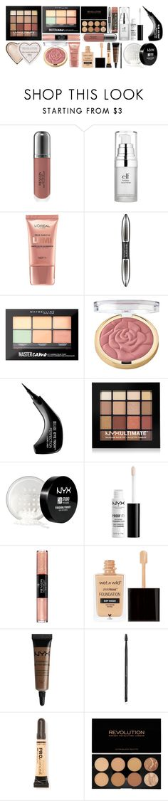"""Drugstore makeup"" by heyitskaitlynn ❤ liked on Polyvore featuring beauty, Revlon, e.l.f., L'Oréal Paris, Maybelline, Milani, NYX, Charlotte Russe and L.A. Girl"