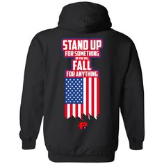 'Proudly American - Stand Up' Cotton Hoodie - CustomCat Stand Up America, Fishing Gifts, Hoodies, American, Unity, Charity, Facebook, Usa, Hoodie