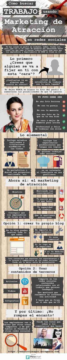 Cómo buscar trabajo usando marketing de atracción en redes sociales #Infografía