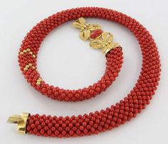 Vintage 18K Yellow Gold Red Coral Statement Necklace Fine Estate Jewelry Used   eBay