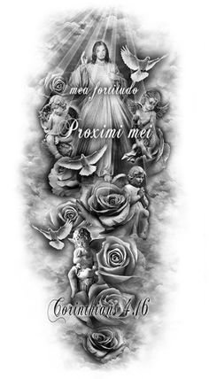 Many people mistake tattoos with more modern, rebellious cultures such as the alternative and pop-culture. Despite a lot of people being convinced that tattoos are a new thing and despite many peop… Jesus Tattoo Sleeve, Religious Tattoo Sleeves, Full Sleeve Tattoos, Tattoo Sleeve Designs, Tattoo Designs Men, Leg Tattoos, Body Art Tattoos, Tattoos For Guys, Angel Hand Tattoo