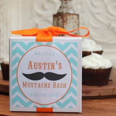 12 - Mustache Party Favor Cupcake Boxes - ANY COLOR - mustache baby shower, mustache theme, mustache birthday party. $27.00, via Etsy.