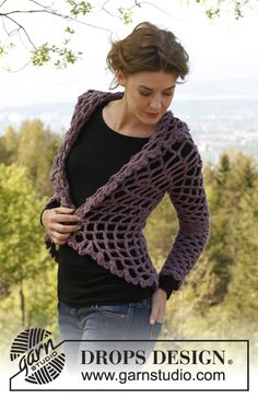 Really like this one: Crochet DROPS Design jacket worked in a circle