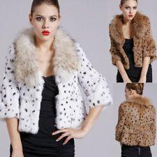 Ladies Real Farms Rabbit Fur Leopard Jackets Coat With TANUKI Ussuri Racoon Coll