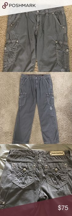 NWOT Rock Revival Modelo Purchased at Buckle.  Never wore them because I lost weight and they are to big.  Grey color size 31.  Waist measurement flat is 17 1/2 inseam 28'. Price is firm. Rock Revival Jeans Straight Leg