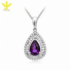 Solid 18K White Gold Natural 1.15ct Amethyst & Diamond Pendants Necklace, View Amethyst Pendants, FirstLady Product Details from Guangzhou First Lady Jewelry Co., Ltd. on Alibaba.com