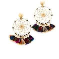GAS Bijoux Attrape Reve Plumes Earrings (19,010 INR) ❤ liked on Polyvore featuring jewelry, earrings, 24k earrings, chains jewelry, gold plated jewelry, gold plated jewellery and gold plated earrings