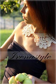 Lace crochet collar light ecru cotton CROCHET COLLAR by Irenastyle