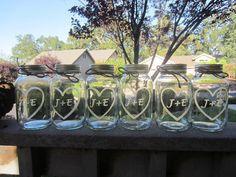 6 Etched Mason Jars - Wedding Mason Jar Center Pieces. $36.00, via Etsy.