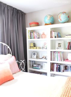 Guest room makeover + create a home library with three Target Threshold bookcases!