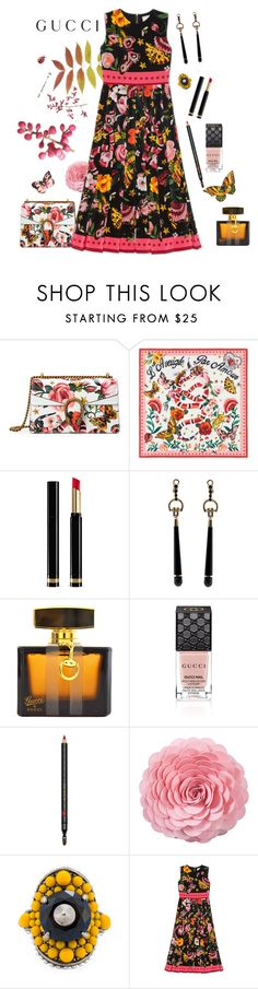 """""""Presenting the Gucci Garden Exclusive Collection: Contest Entry"""" by annbaker ❤ liked on Polyvore featuring Gucci, Saro and gucci"""