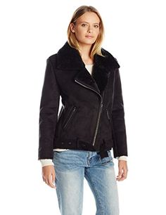 Dolce Vita Women's Faux Suede and Faux Shearling Combo Veronica Moto Jacket - http://www.darrenblogs.com/2017/03/dolce-vita-womens-faux-suede-and-faux-shearling-combo-veronica-moto-jacket/