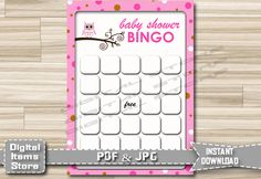 Printable Bingo Game Owl - Baby Shower Bingo Game Pink - Baby Shower Bingo Pink Owl - Baby Shower Bingo Game Owl Pink - Instant Download by DigitalitemsShop on Etsy