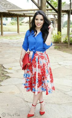 Look do Dia: Saia Midi com pregas frontais e Camisa da A&C Boutique | Blog da Paola