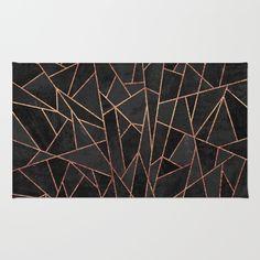 Rug featuring Shattered Black / 2 by Elisabeth Fredriksson Urban Home Decor, Plastic Carpet Runner, Floor Patterns, Living Room Carpet, Beautiful Artwork, Rugs On Carpet, Carpets, Decor Styles, Area Rugs