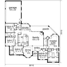 **12-27-17** Traditional Style House Plan - 5 Beds 3.00 Baths 2532 Sq/Ft Plan #84-238 Floor Plan - Main Floor Plan - Houseplans.com European Plan, European House Plans, Country House Plans, Dream House Plans, House Floor Plans, European Style, Porch Kits, Traditional House Plans, Traditional Design