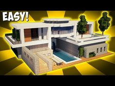 Minecraft: How To Build A Modern House Tutorial w/ Pool & Garage! (#3) - YouTube