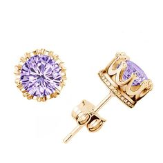 Charm Women Elegant 925 Sterling  Gold Tone Rhinestone Crown Ear Stud Earrings. Free shipping and guaranteed authenticity on Charm Women Elegant 925 Sterling  Gold Tone Rhinestone Crown Ear Stud Earrings at Tradesy. Features:  Condition: Brand New  Material: Silve...
