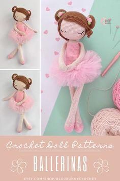 Ballerina Crochet Doll Pattern, 14,5 inches - 37cm Amigurumi Doll Pattern, Ballerina Skirt, Tutu Diy Ballerina Rosie, Amigurumi Crochet Pattern. Ballerina Crochet Doll Pattern 14,5 inches - 37cm This is a DOWNLOADABLE TUTORIAL. Written in English. Using US terminology. Bunny Crochet, Crochet Doll Pattern, Cute Crochet, Crochet Hooks, Crochet Patterns, Amigurumi Doll, Amigurumi Patterns, Doll Patterns, Diy Tutu