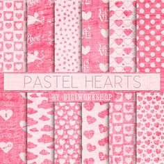 Valentine Digital Paper: Pastel Hearts  Valentine pastel background great for #scrapbooking, parties, home decor, invitations, photo albums, crafts, collage, web graphics, b... #etsy #digiworkshop #illustration #creative #clipart #printables #crafting #pink