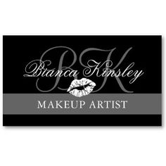Makeup Artist Monograms Business Cards Black