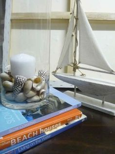Candle with shells, cute boat