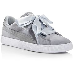 Puma Women's Heart Safari Lace Up Sneakers ($90) ❤ liked on Polyvore featuring shoes, sneakers, grey, lacing sneakers, puma shoes, puma footwear, safari shoes and puma sneakers